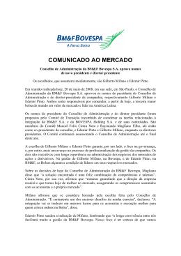 COMUNICADO AO MERCADO - BM&FBOVESPA