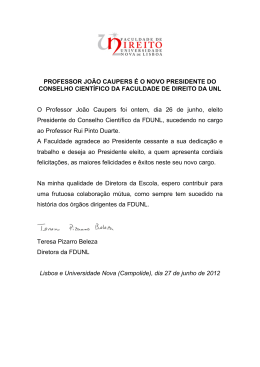 PROFESSOR JOÃO CAUPERS É O NOVO PRESIDENTE DO