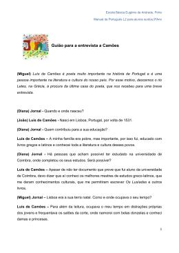 Guião para a entrevista a Camões