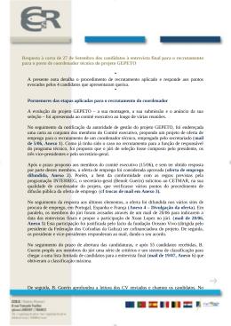 Resposta carta de 27 de Setembro dos candidatos entrevista final