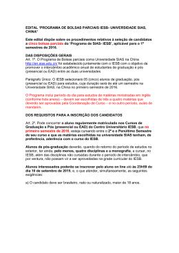 EDITAL `PROGRAMA DE BOLSAS PARCIAIS IESB