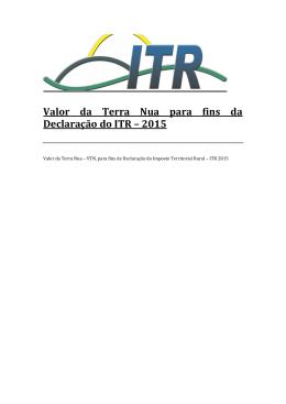 Valor da Terra Nua para fins da Declaração do ITR