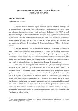 REFORMAS ESCOLANOVISTAS NA EDUCAÇÃO MINEIRA