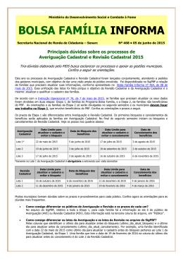 bolsa família informa - MINISTÉRIO DO Desenvolvimento Social e