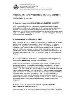 PROGRAMA ICMS ANTECIPADO ESPECIAL COM GLOSA