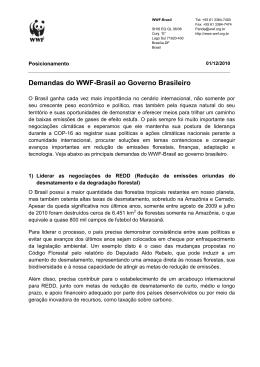 Demandas do WWF-Brasil ao Governo Brasileiro
