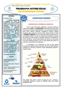 BOLETIM ALIMENTAÇÃO E NUTRIÇÃO ALIMENTAÇÃO SAUDÁVEL
