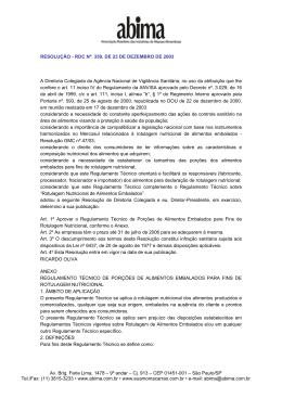 Resolução-RDC nº 359, de 23 de dezembro de 2003