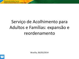 Serviço de Acolhimento para Adultos e Famílias - COGEMAS-PR