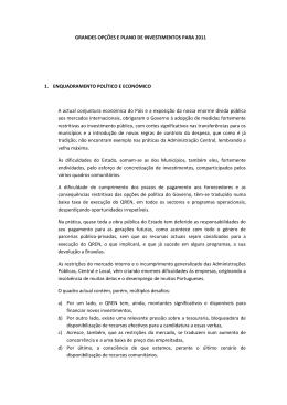 GRANDES OPÇÕES E PLANO DE INVESTIMENTOS