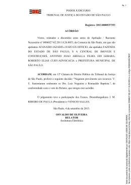 PODER JUDICIÁRIO TRIBUNAL DE JUSTIÇA DO ESTADO DE SÃO