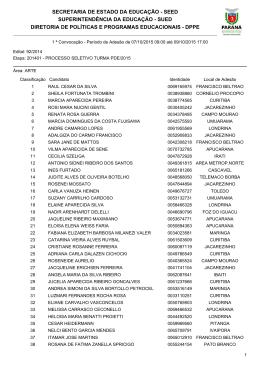Lista dos professores convocados para a Primeira Chamada da