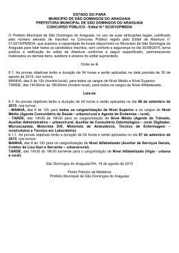 Edital 02 - Alteração na data de prova