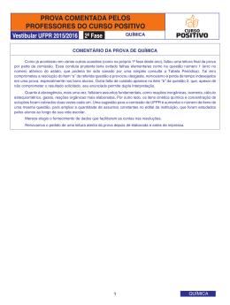 COMENTÁRIO DA PROVA DE QUÍMICA 1