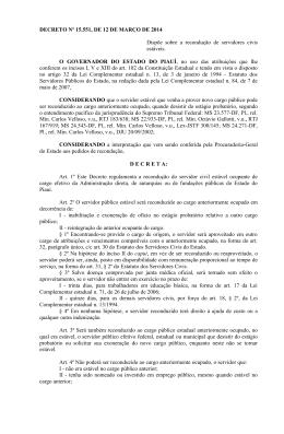 DECRETO Nº 15.551, DE 12 DE MARÇO DE 2014 Dispõe