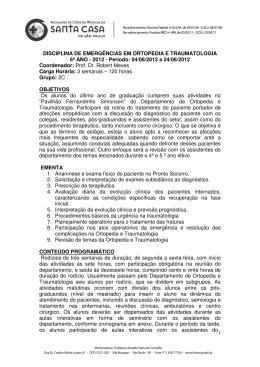 1 DISCIPLINA DE EMERGÊNCIAS EM ORTOPEDIA E