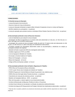 lista de documentos padrão para auditoria - fornecedor