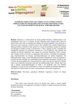 1 O EMBATE NORMA POPULAR/ NORMA CULTA/ NORMA