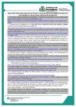Documentação para requerimento - Prefeitura Municipal de Fortaleza
