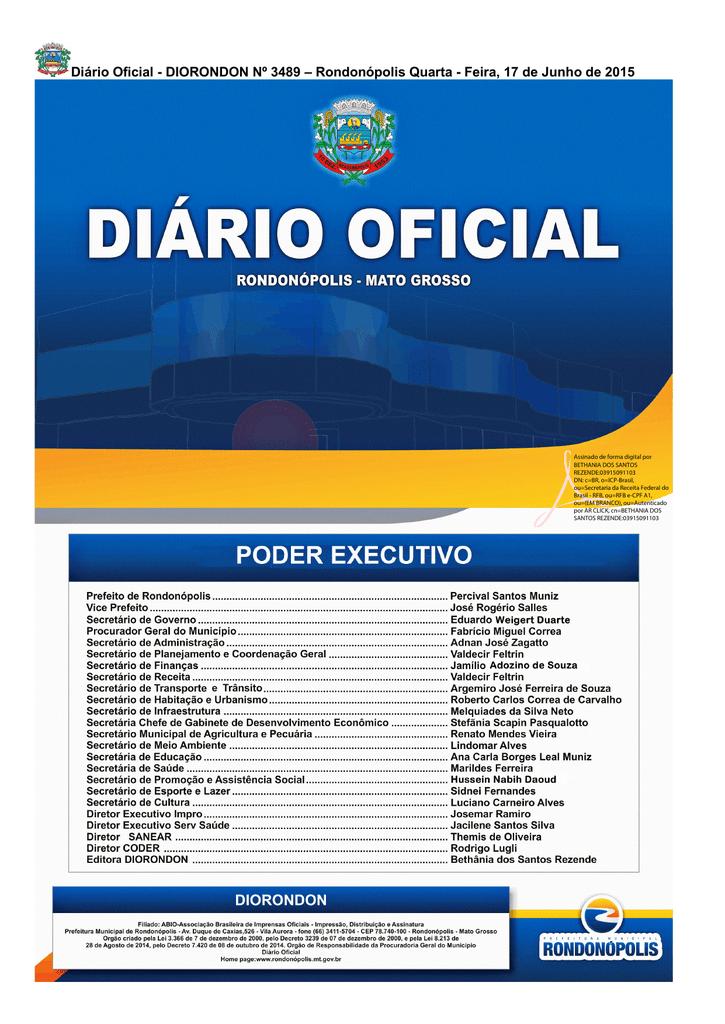 0d23f28f91 Diário Oficial - DIORONDON Nº 3489 – Rondonópolis Quarta