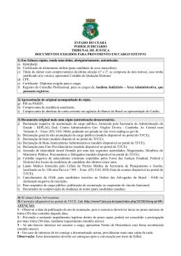 Documentos Exigidos para Provimento em Cargo Efetivo