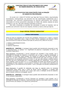 CONCURSO PÚBLICO PARA PROVIMENTO DOS