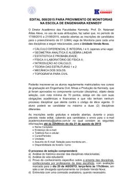 edital 008/2015 para provimento de monitorias na escola de