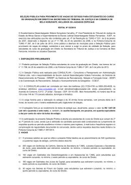 SELEÇÃO PÚBLICA PARA PROVIMENTO DE VAGAS DE ESTÁGIO