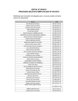 EDITAL Nº 05/2015 PROCESSO SELETIVO SIMPLIFICADO Nº 001