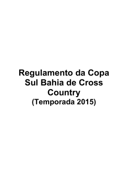 Regulamento da Copa Sul Bahia de Cross Country