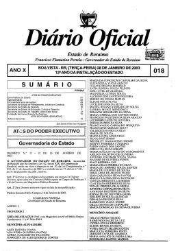 S U M A R I O - Imprensa Oficial do Estado de Roraima