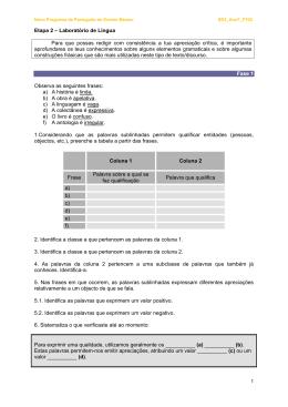Etapa 2 – Laboratório de Língua Para que possas redigir com