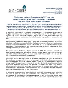 Sinthoresp pede ao Presidente do TST que zele para que decisões