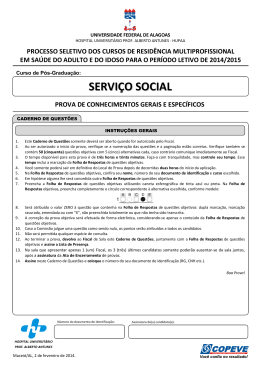 Prova - Serviço Social - Copeve - Universidade Federal de Alagoas