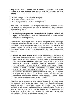 Requisitos para entrada em territorio espanhol para uma estada