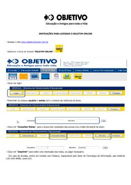 Instruções para acessar o boletim online _II - Colégio Objetivo