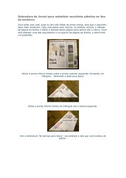 Dobradura de Jornal para substituir sacolinha plástica no lixo do