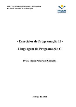 - Exercícios de Programação II - Linguagem de