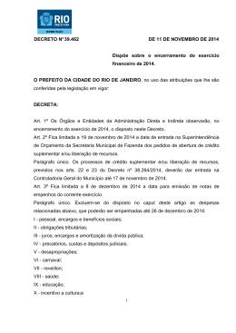 DECRETO N° 39.462 DE 11 DE NOVEMBRO DE 2014 Dispõe