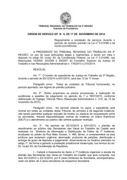 ORDEM DE SERVIÇO GP N. 6, DE 17 DE NOVEMBRO DE 2014