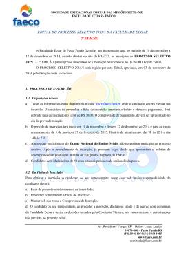 edital do processo seletivo 2015/1 da faculdade ecoar 2º