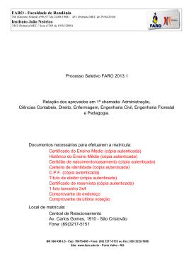 FARO - Faculdade de Rondônia Instituto João Neórico Processo