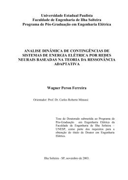 Análise dinâmica de contingências de sistemas de energia elétrica