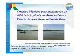 Estudo de caso: Reservatório de Itaipu