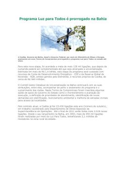 Programa Luz para Todos é prorrogado na Bahia