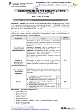 Critérios de Avaliação Matemática - 1º ciclo 2015-16 2015-16