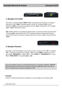 Inserção Manual de Canais - Receptores 2.0, Petit e DuoMax