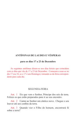 Antífonas de Laudes e Vésperas para os dias 17 a 23 de Dezembro