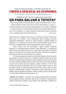 CRÍTICA SEMANAL DA ECONOMIA DÁ PARA SALVAR A TOYOTA?.