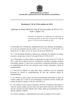 Resolução nº 10, de 29 de outubro de 2014 (publicada no